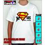 Camisa Infantil Cristã Evangélica - Jesus Meu Herói Superman