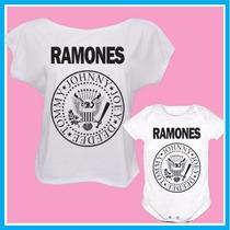 Kit Tal Mãe Tal Filha Blusa E Body Infantil Ramones, Rock