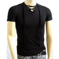 Camisa Slim Gola V Capuz E Cordão Masculina Manga Curta