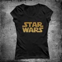 Baby Look Star Wars, Jornada Nas Estrelas, Logo Dourada.