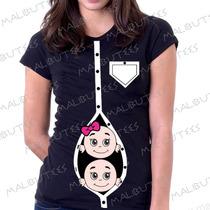 Baby Look Camiseta Gravida Gestante Gemeos Bebes Espiando
