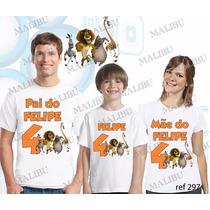 Camiseta Madagascar Aniversário Personalizada Kit Com 3