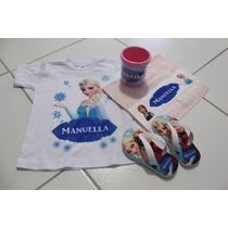 Kit Frozen Camiseta Toalha Caneca Chinelo Personalizada