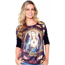 Blusa Bata Católica Bordad Jesus Nossa Senhor Coração Maria
