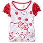 Blusa De Manga Curta De Poá Hello Kitty - Importada