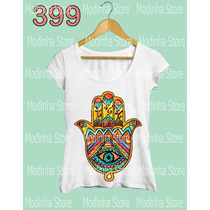 Camiseta Blusa Tshirt Feminina Mão De Fatima Hamsá Amarelo