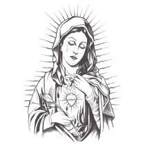 Camiseta Sagrado Coração De Maria - Gola Canoa