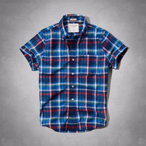 Camiseta Camisa Xadrez Masculina Abercrombie G Azul Original