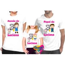 Kit 3 Pçs Camisa Personalizada P/ Festa Fazendinha Rosa A4
