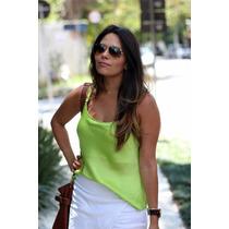 Blusa De Cetim De Seda Com Alcinha Com Regulagem, Verde Neon