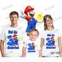 Lembrança De Aniversario Super Mario Camiseta Kit Com 3