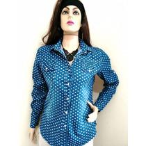 Blusa Camisa Jeans Feminina
