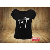Camiseta Feminina Divertida Pombo Gordo Alta Tensão