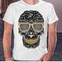 Camisa Estampa Masculina Caveira Olhos Coloridos Skull