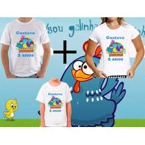 Kit 3 Camisetas Tema Galinha Pintadinha Aniversario