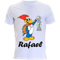 Camiseta Infantil Personalizada Do Pica Pau Com Nome