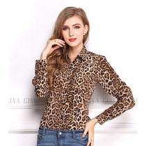 Camisa Onça Social Chiffon Feminina G