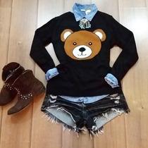 Blusa Linha Tricot Urso Ted, Moda Inverno 2015, Promoção