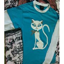 Camiseta Feminina Manga Longa Com Estampa De Gato 16