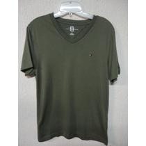 Camiseta Masculina Tommy Hilfiger Gola V Original Tm P Verde