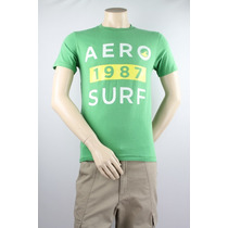 Aeropostale Aero 1987 Ressaca Curta Manga Tee Verde