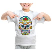Camiseta Infantil Caveira Mexicana Modelo 358