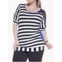Blusa Camisa Listrada Navy Preta Moda Maior Plus Size 50 52