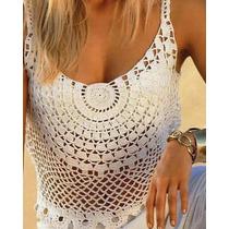 Top Blusa Regata Em Crochê - Moda Verão