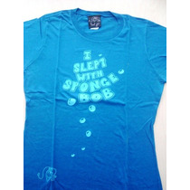 9604 Camiseta Do Bob Esponja Importada, Azul Com Os Dizeres