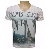 Camiseta Calvin Klein Gola V Ou Canoa - Kit Com 5 Unidades