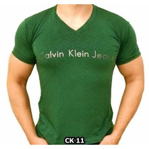 Kit Com 3 Camisas Ck Camisetas Calvin Klein Gola V Flamê