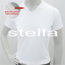 Camiseta Baby Look Feminina Decote V Branca 100% Poliester