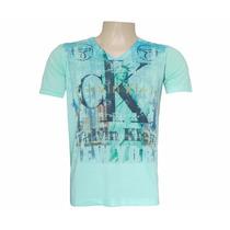 Camisa Calvin Klein Gola V Verde Água