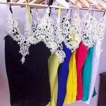Kit Com 10 Blusas Regatas Em Viscose Com Renda No Atacado