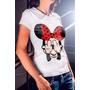 Camiseta Basica Feminina Minnie Mostrando Os Dedos Do Meio