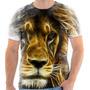 Camiseta - Camisa Leão Animal Felino Luzes Neon