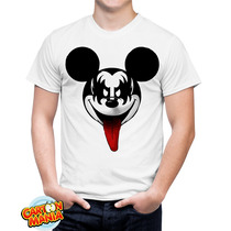 Camiseta Banda Kiss Mickey Sátira Rock N Roll Engraçada
