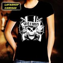Camiseta Guns N Roses Baby Look Feminina Banda Rock Camisa