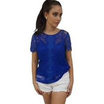Blusa Em Renda Azul Royal Unique Chic Frete Grátis