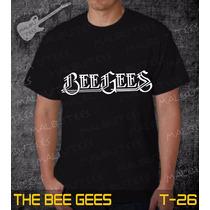 Camisetas The Bee Gees Rock Roll Bandas Preta