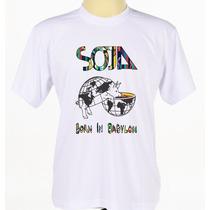 Camisa Camiseta Branca Customizada Banda De Reggae Soja