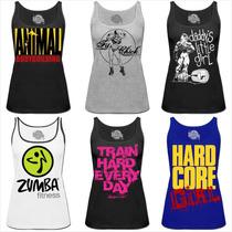 Camiseta Zumba Regata Feminina Musculação Animal Academia