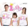 Camiseta Reino Encantado Aniversário Personalizada Kit Com 3