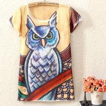 Pronta Entrega Blusa Manga Curta Camiseta Coruja Nova