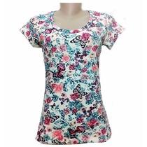 Blusa Feminina Em Cotton De Algodão Estampada + Lindo Brinde