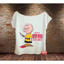 Blusa Feminina Gola Canoa Charlie Brown Bad Man Snoopy