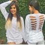 Blusa Feminina Em Tricô Com Detalhe Desfiado Nas Costas