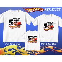 Kit Camiseta Carros Hot Wheels Aniversario Festa Kit Com 3