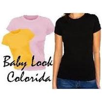 Camiseta Baby Look Colorida/100%algodão/frete Gratis