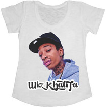 Baby Look Manga Curta Feminina T-shirt Wiz Khalifa